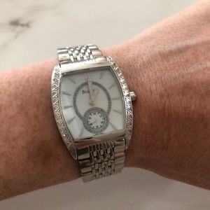 Bulova stainless steel watch with diamonds